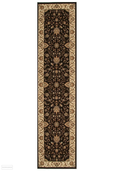 Empire Collection Stunning Formal Classic Design Brown Rug - 300x80cm