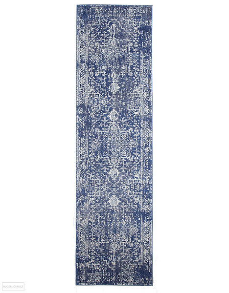 Evoke Contrast Navy Transitional Rug - 300x80cm