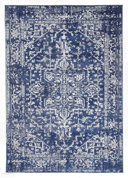 Evoke Contrast Navy Transitional Rug - 230x160cm