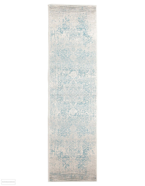 Evoke Glacier White Blue Transitional Rug - 300x80cm