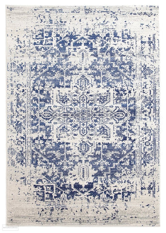 Evoke Horizon White Navy Transitional Rug - 230x160cm