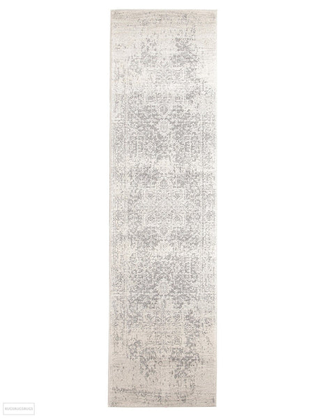Evoke Dream White Silver Transitional Rug - 300x80cm