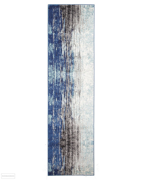 Evoke Transpose Blue Transitional Rug - 300x80cm
