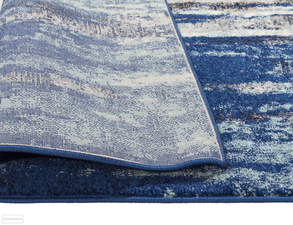Evoke Transpose Blue Transitional Runner Rug