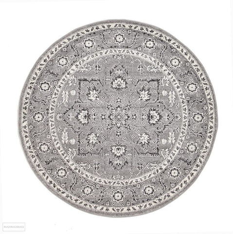 Evoke Stone Grey Transitional Round Rug