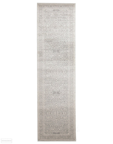 Evoke Silver Flower Transitional Rug - 300x80cm