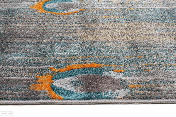 Harmony Peacock Feather Austin Grey Blue Rust Rug