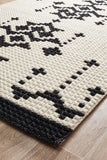 Rhea Cross Stitch Rug Black White - Modern
