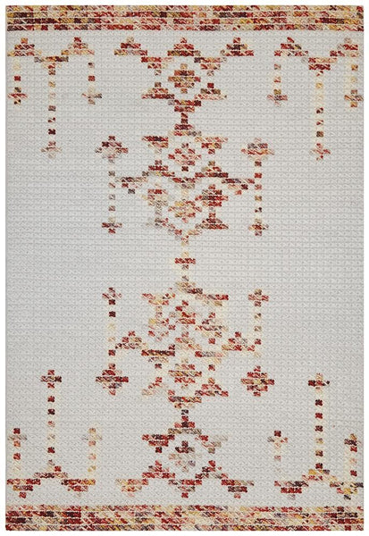 Rhea Cross Stitch Rug Rust Burgandy - Modern