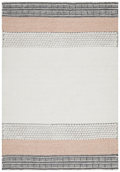 Esha Textured Woven Rug White Peach - Modern
