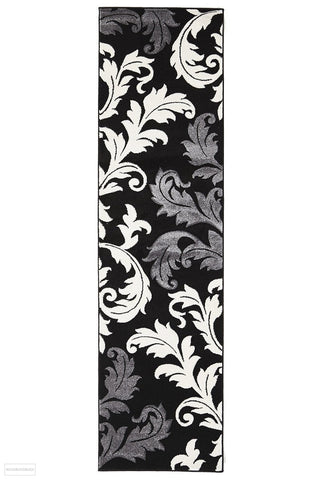 Icon Damask Leaf Design Runner Rug Black Grey