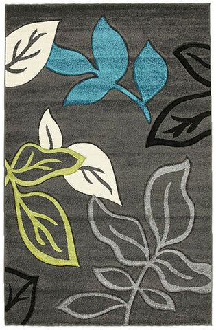 Icon Stunning Thick Leaf Rug Charcoal - 170x120cm