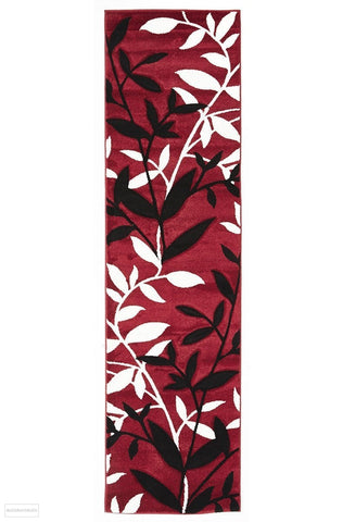 Icon Stunning Spring Leaf Runner Rug Red Black