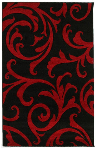 Icon Stunning Thick Damask Rug Black - 170x120cm
