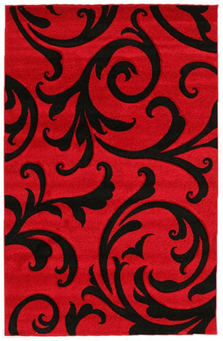 Icon Stunning Thick Damask Rug Red - 170x120cm