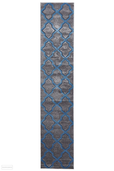 Icon Cross Hatch Modern Rug Grey - 400x80cm