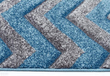 Icon Modern Chevron Design Runner Rug Blue Grey