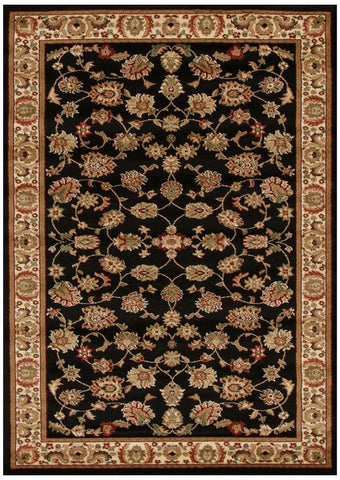 Istanbul Collection Traditional Floral Pattern Black Rug - 170x120cm
