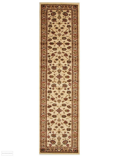 Istanbul Collection Traditional Floral Pattern Ivory Rug - 300x80cm