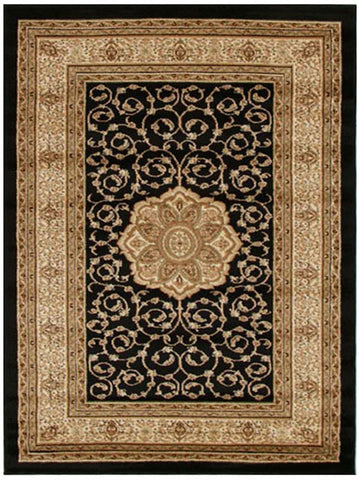 Istanbul Collection Medallion Classic Pattern Black Rug - 170x120cm