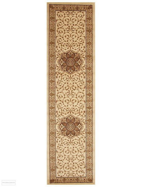 Istanbul Collection Medallion Classic Pattern Ivory Rug - 300x80cm