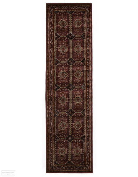 Istanbul Collection Traditional Afghan Design Burgundy Red Rug - 300x80cm