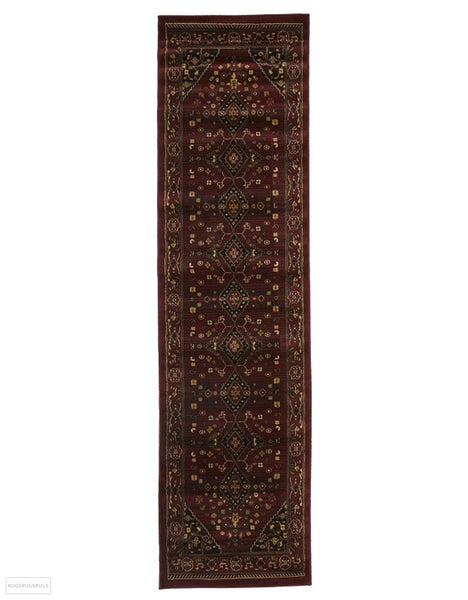 Istanbul Collection Traditional Shiraz Design Burgundy Red Rug - 300x80cm