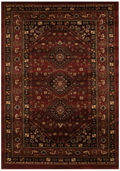 Istanbul Collection Traditional Shiraz Design Burgundy Red Rug - 170x120cm