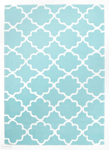 Kids Trellis Design Rug Soft Blue - Kids