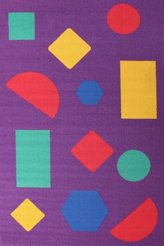Kids Non Slip Shapes Rug Purple - Kids