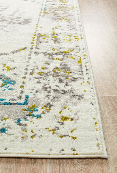 Alexa Transitional Rug White Green Blue - Modern