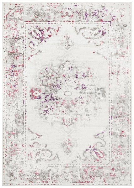 Alexa Transitional Rug White Pink Grey - Modern