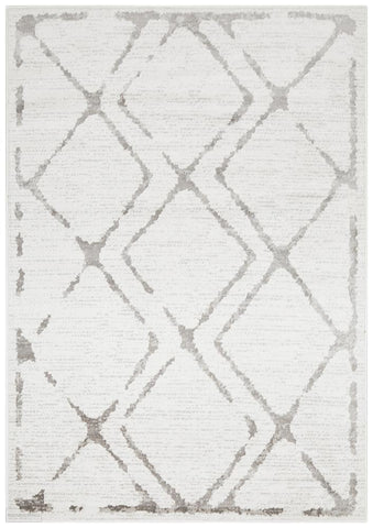 Kendall Contemporary Diamond Rug White Grey - Modern