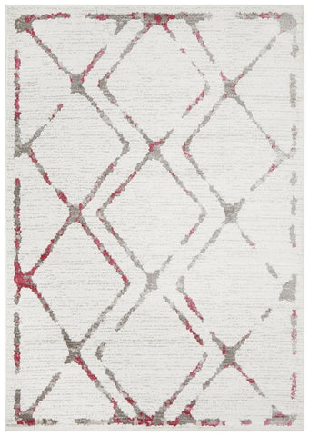 Kendall Contemporary Diamond Rug White Pink Grey - Modern