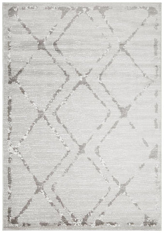 Kendall Contemporary Diamond Rug Silver Grey - Modern