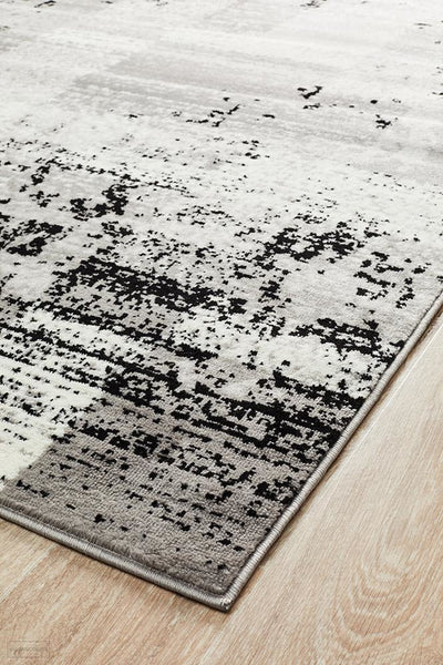 Alicia Modern Distressed Rug Grey Black Silver - Modern