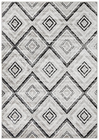 Sabrina Geo Diamonds Rug Grey Black - Modern