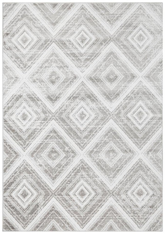 Sabrina Geo Diamonds Rug Silver Grey - Modern