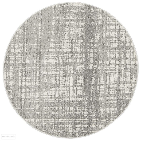 Mirage Ashley Abstract Modern Silver Grey Round Rug - 150x150cm