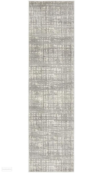 Mirage Ashley Abstract Modern Silver Grey Runner Rug - 300x80cm