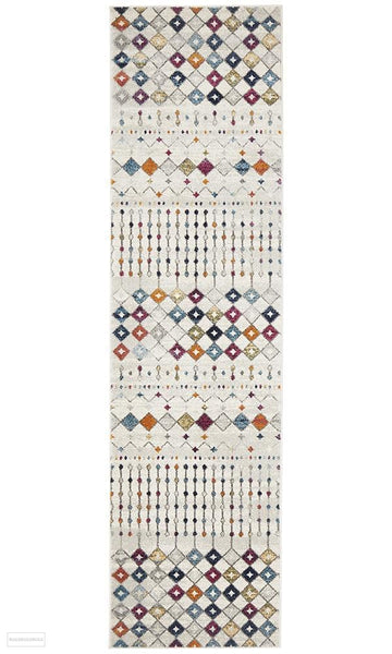 Mirage Peggy Tribal Morrocan Style Multi Runner Rug - 300x80cm