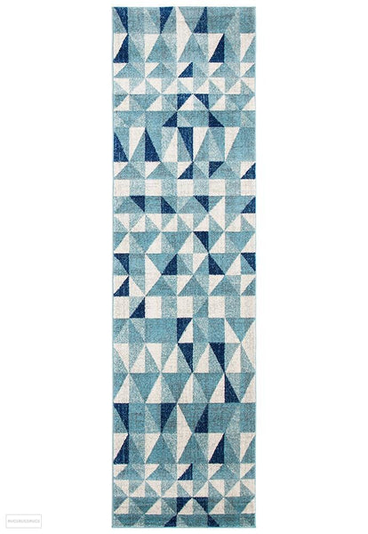 Mirage Illusion Modern Geo Blue Ivory Rug - 300x80cm