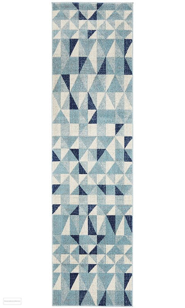 Mirage Illusion Modern Geo Blue Ivory Runner Rug - 300x80cm