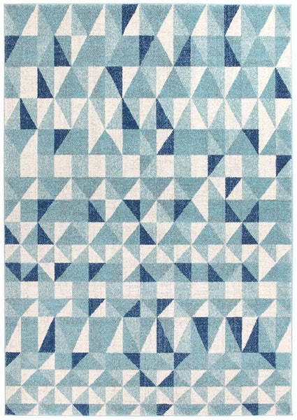 Mirage Illusion Modern Geo Blue Ivory Rug - 230x160cm
