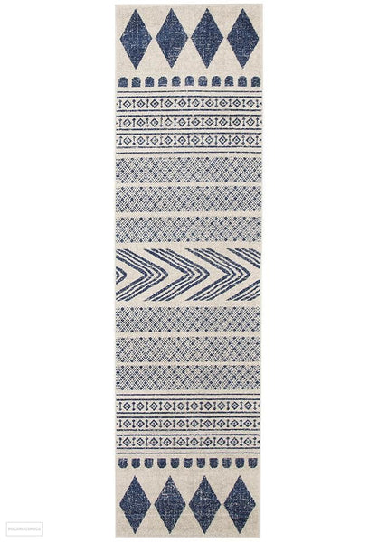 Mirage Adani Modern Tribal Design Navy Rug - 300x80cm