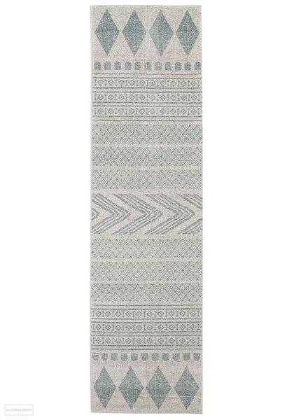 Mirage Adani Modern Tribal Design sky Blue Rug - 300x80cm