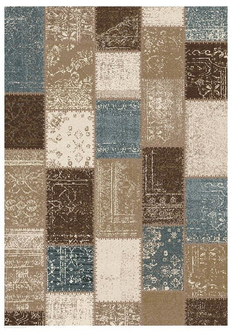 Mystique Collection Patchwork Design Blue Rug - 170x120cm