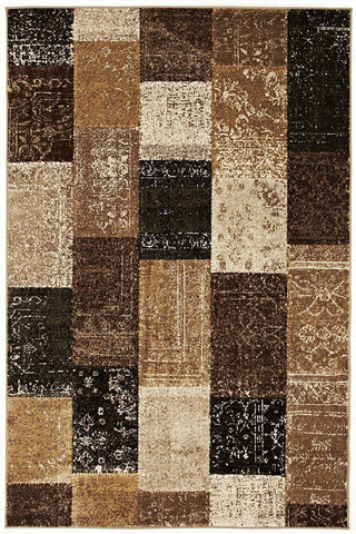 Mystique Collection Patchwork Design Brown Rug - 170x120cm