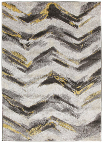 Nitro Ella Chevron Modern Rug Grey Yellow