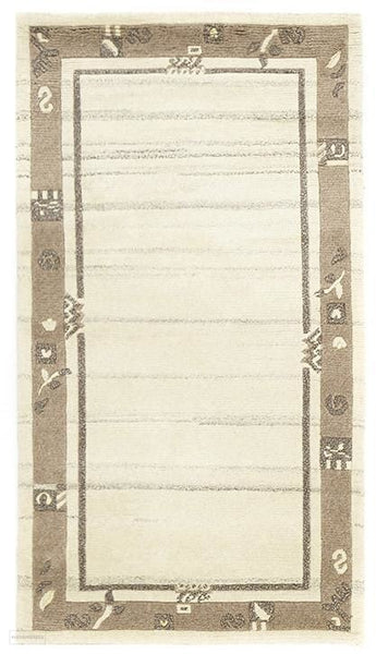 Modern Hand Knotted Natural Wool Rug Cream Brown - 150X80cm